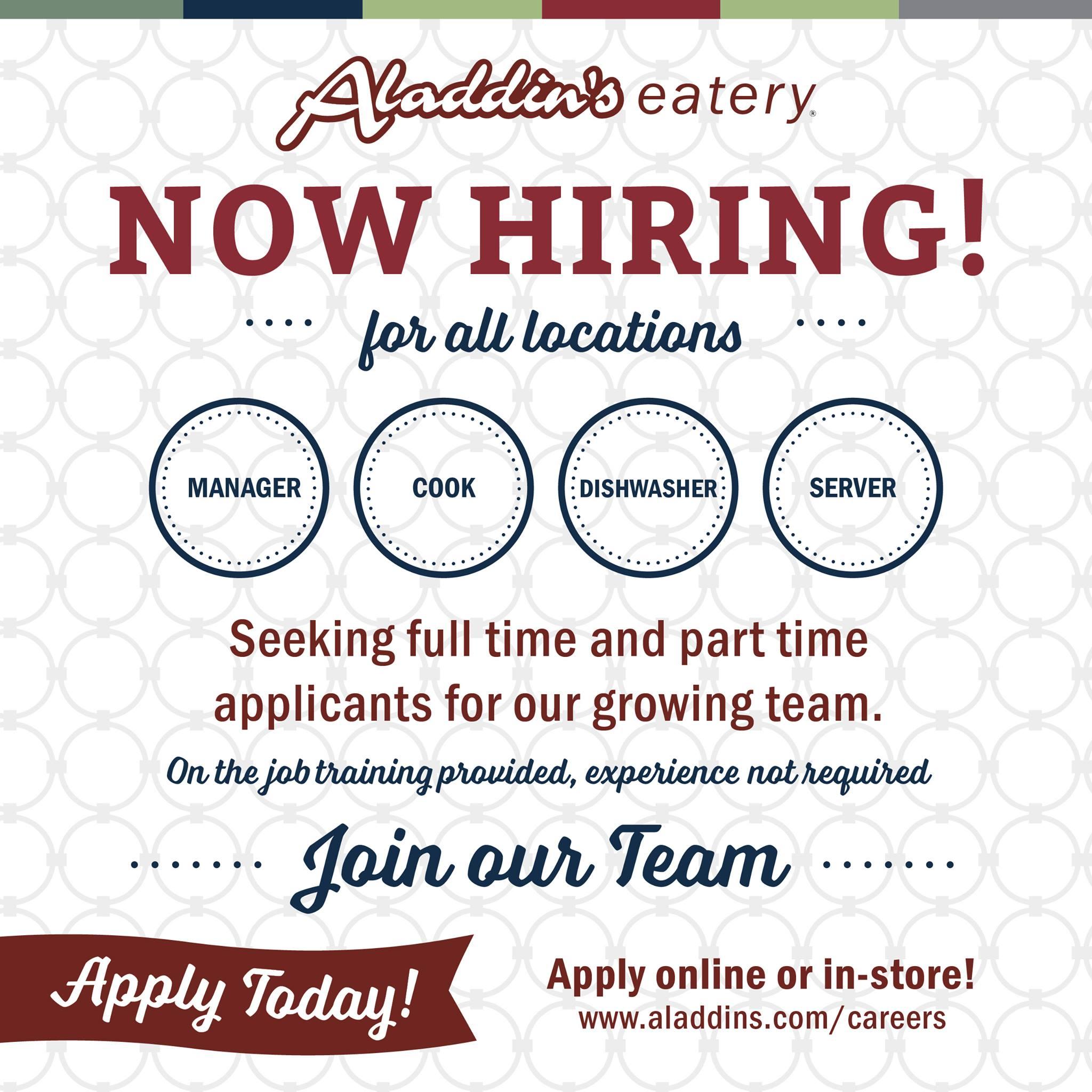 Start a Career at Aladdin's Eatery
